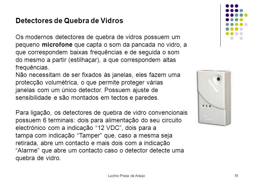 Lucínio Preza de Araújo19 Detectores de Quebra de Vidros Os modernos detectores de quebra de vidros possuem um pequeno microfone que capta o som da pa