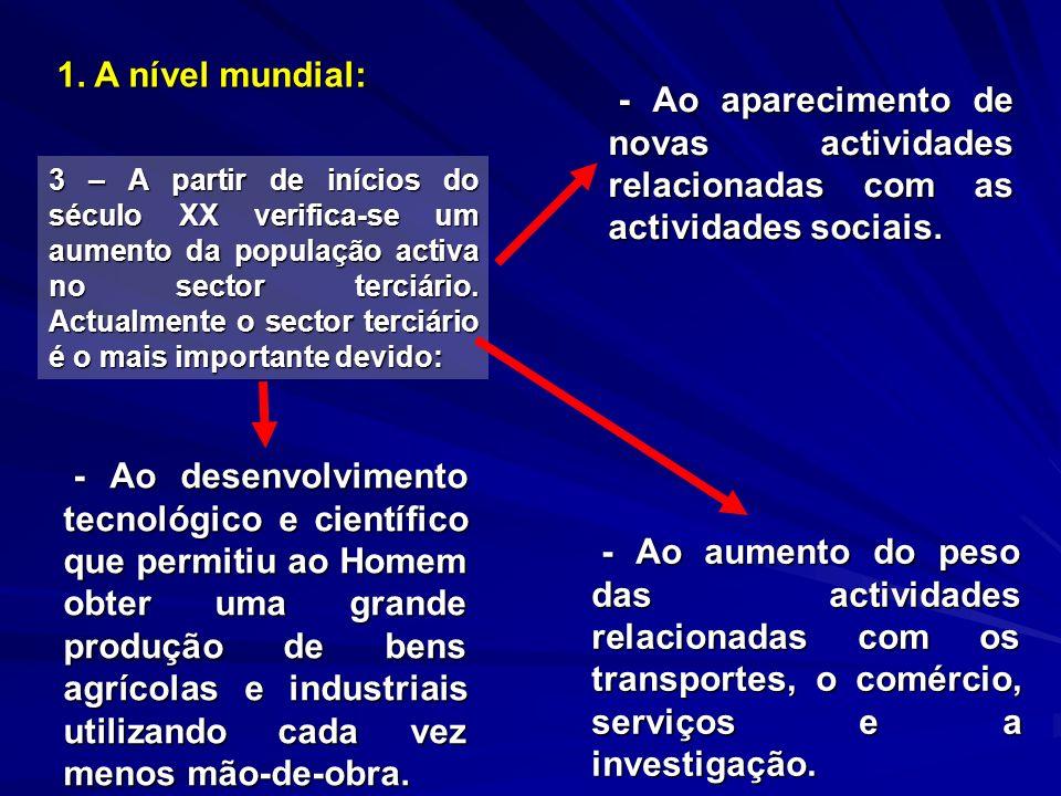 1. A nível mundial: 3 – A partir de inícios do século XX verifica-se um aumento da população activa no sector terciário. Actualmente o sector terciári