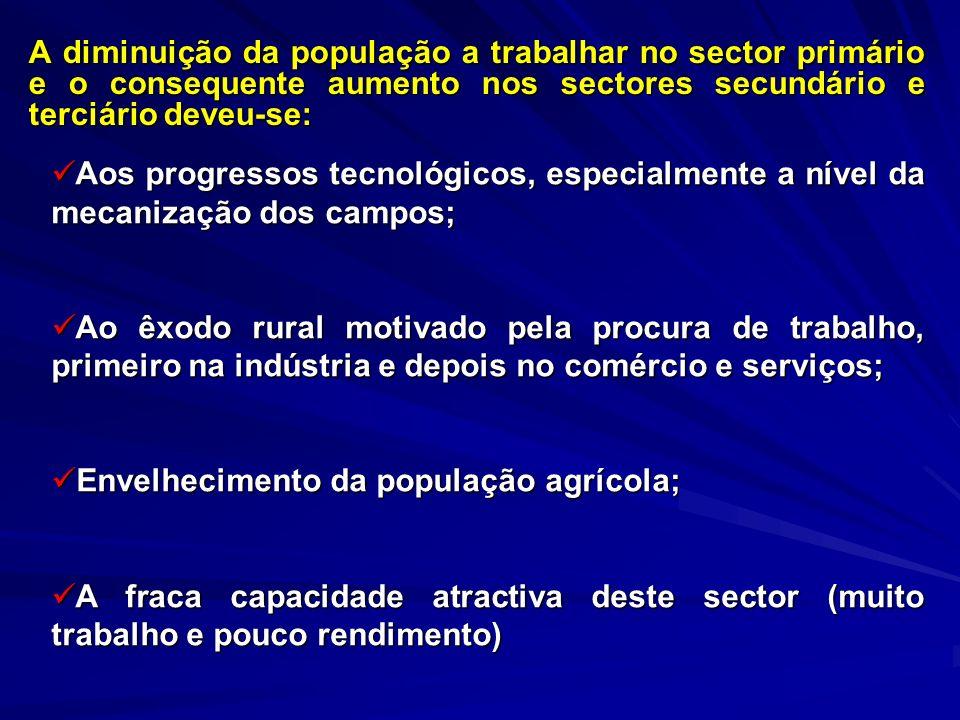 A diminuição da população a trabalhar no sector primário e o consequente aumento nos sectores secundário e terciário deveu-se: Aos progressos tecnológ