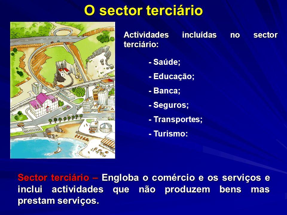 O sector terciário Sector terciário – Engloba o comércio e os serviços e inclui actividades que não produzem bens mas prestam serviços. Actividades in