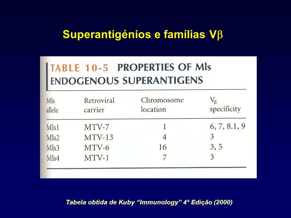 Superantigénios e famílias V Tabela obtida de Kuby Immunology 4ª Edição (2000)