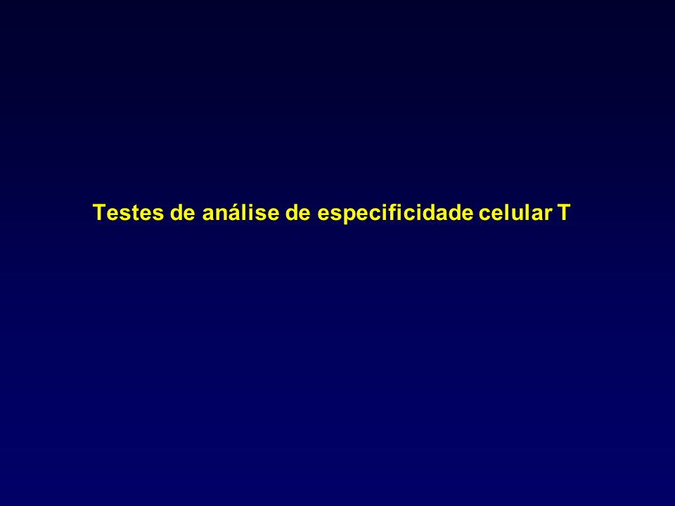 Testes de análise de especificidade celular T