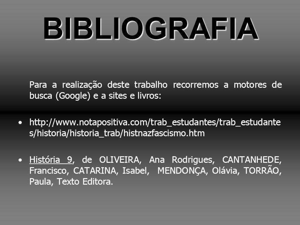 BIBLIOGRAFIA Para a realização deste trabalho recorremos a motores de busca (Google) e a sites e livros: http://www.notapositiva.com/trab_estudantes/t