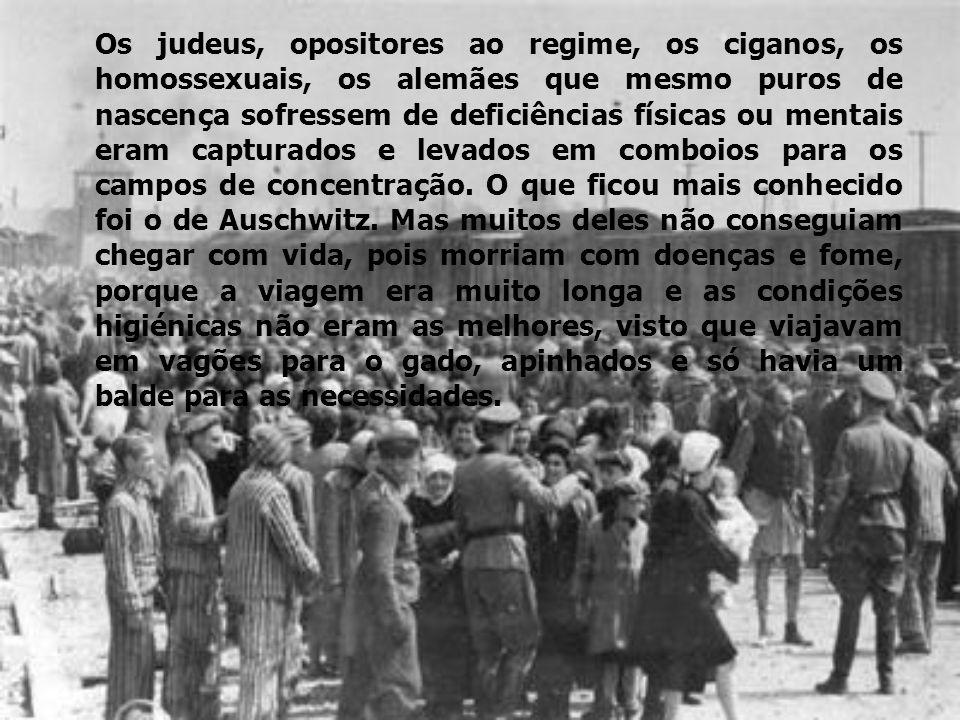 Os judeus, opositores ao regime, os ciganos, os homossexuais, os alemães que mesmo puros de nascença sofressem de deficiências físicas ou mentais eram