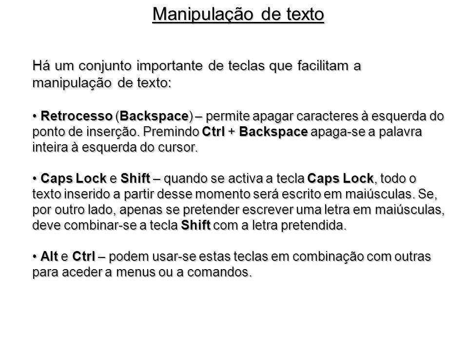 Há um conjunto importante de teclas que facilitam a manipulação de texto: Retrocesso (Backspace) – permite apagar caracteres à esquerda do Retrocesso