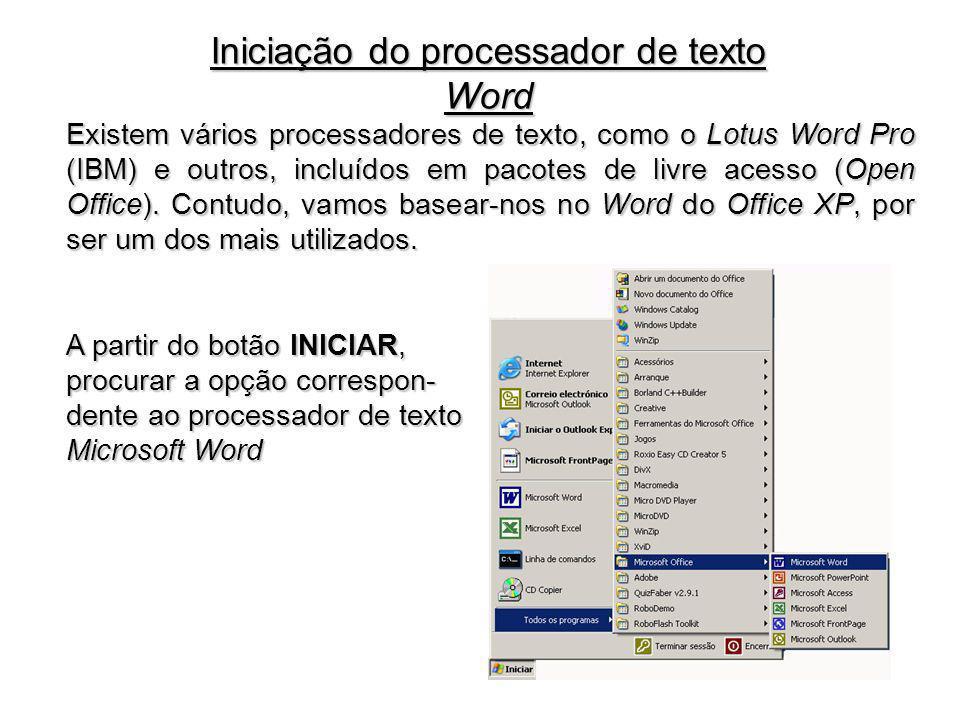 É muita e variada a informação disponível numa janela do processador de texto Word.