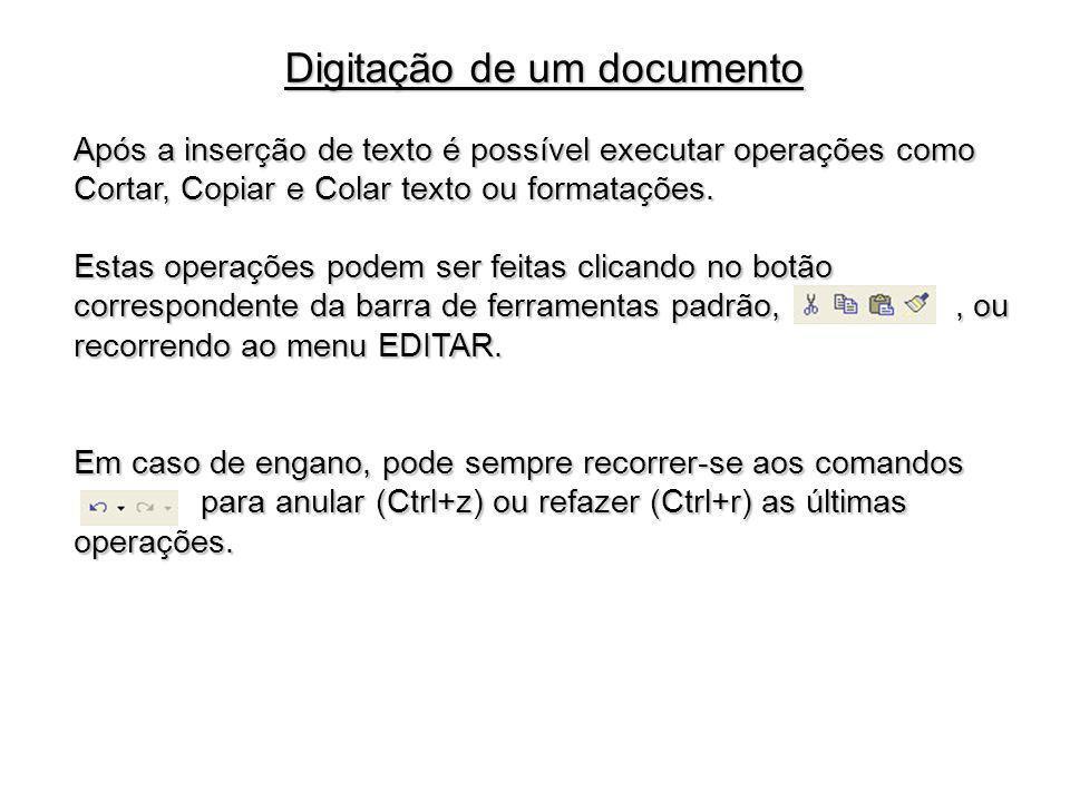 Após a inserção de texto é possível executar operações como Cortar, Copiar e Colar texto ou formatações. Estas operações podem ser feitas clicando no