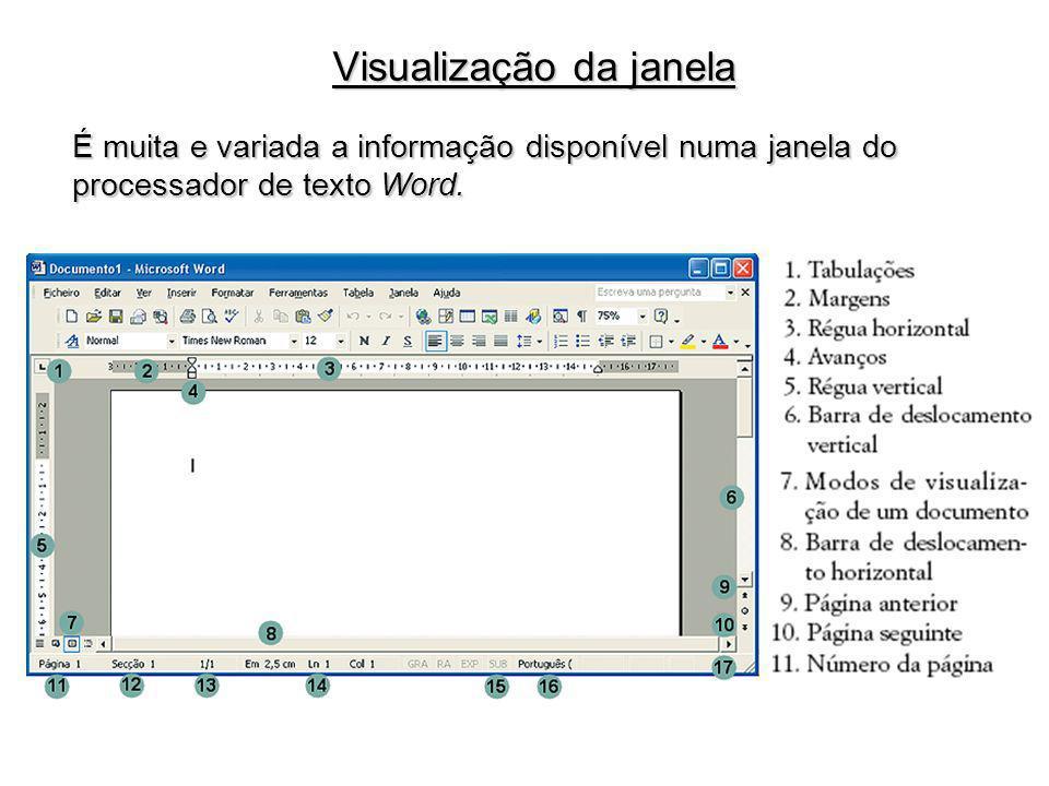 Após a inserção de texto é possível executar operações como Cortar, Copiar e Colar texto ou formatações.