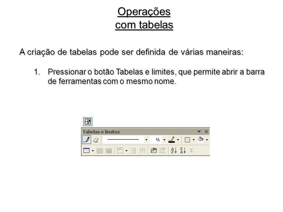 Operações com tabelas A criação de tabelas pode ser definida de várias maneiras: 1.Pressionar o botão Tabelas e limites, que permite abrir a barra de