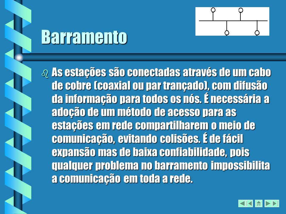 Barramento b As estações são conectadas através de um cabo de cobre (coaxial ou par trançado), com difusão da informação para todos os nós.