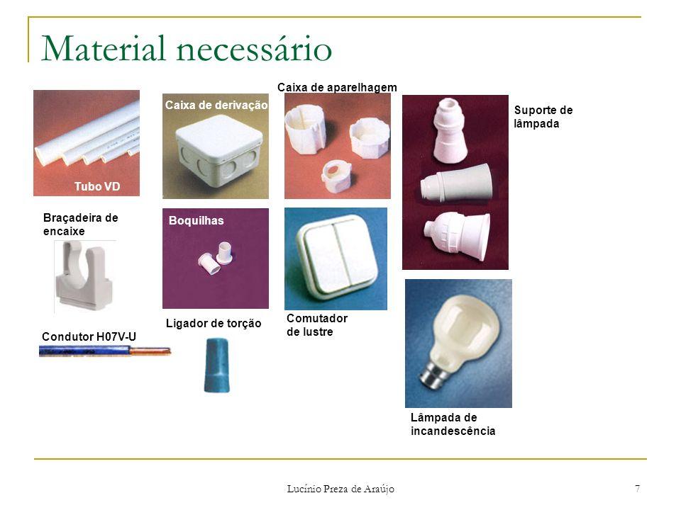 Lucínio Preza de Araújo 7 Material necessário Tubo VD Caixa de derivação Boquilhas Caixa de aparelhagem Lâmpada de incandescência Suporte de lâmpada C