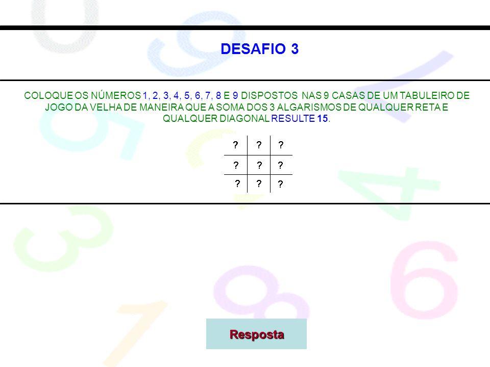 DESAFIO 3 COLOQUE OS NÚMEROS 1, 2, 3, 4, 5, 6, 7, 8 E 9 DISPOSTOS NAS 9 CASAS DE UM TABULEIRO DE JOGO DA VELHA DE MANEIRA QUE A SOMA DOS 3 ALGARISMOS