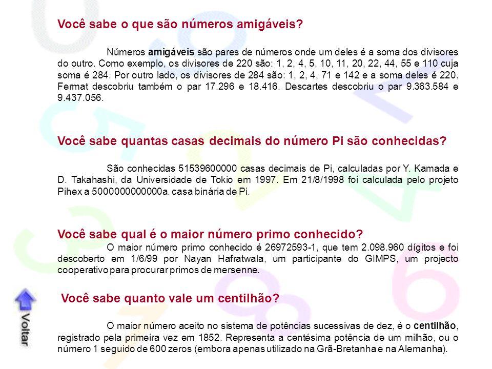 Você sabe o que são números amigáveis? Números amigáveis são pares de números onde um deles é a soma dos divisores do outro. Como exemplo, os divisore
