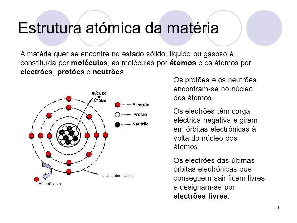 1 Estrutura atómica da matéria Os protões e os neutrões encontram-se no núcleo dos átomos. Os electrões têm carga eléctrica negativa e giram em órbita