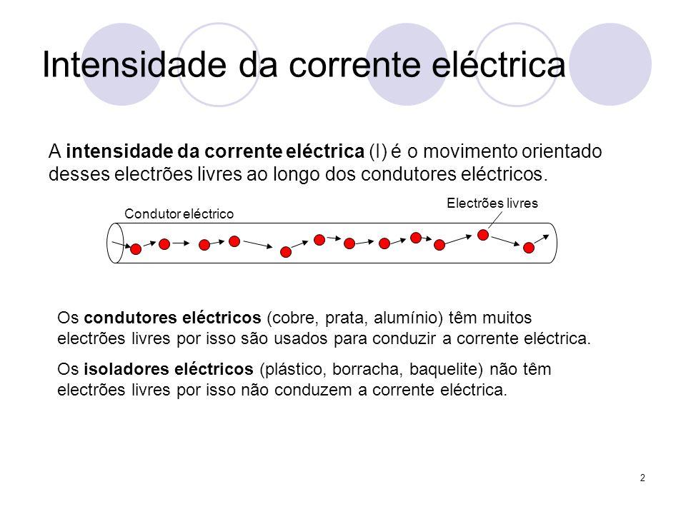 2 Intensidade da corrente eléctrica A intensidade da corrente eléctrica (I) é o movimento orientado desses electrões livres ao longo dos condutores el
