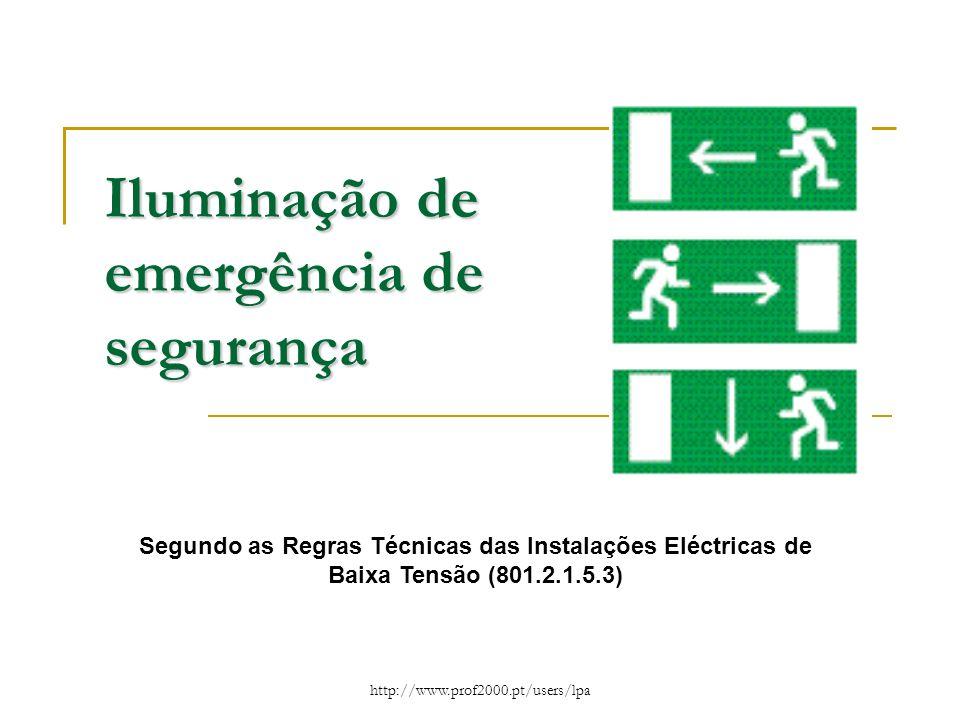 2 Iluminação de emergência de segurança Nos estabelecimentos recebendo público a iluminação de emergência de segurança, deve permitir, em caso de avaria da iluminação normal, a evacuação segura e fácil do público para o exterior e a execução das manobras respeitantes à segurança e à intervenção dos socorros, inclui: a) A iluminação de circulação (evacuação) b) A iluminação de ambiente (anti-pânico) A iluminação de circulação (evacuação) A iluminação de circulação tem como objectivo permitir a evacuação das pessoas em segurança e possibilitar a execução das manobras respeitantes à segurança e à intervenção dos socorros.