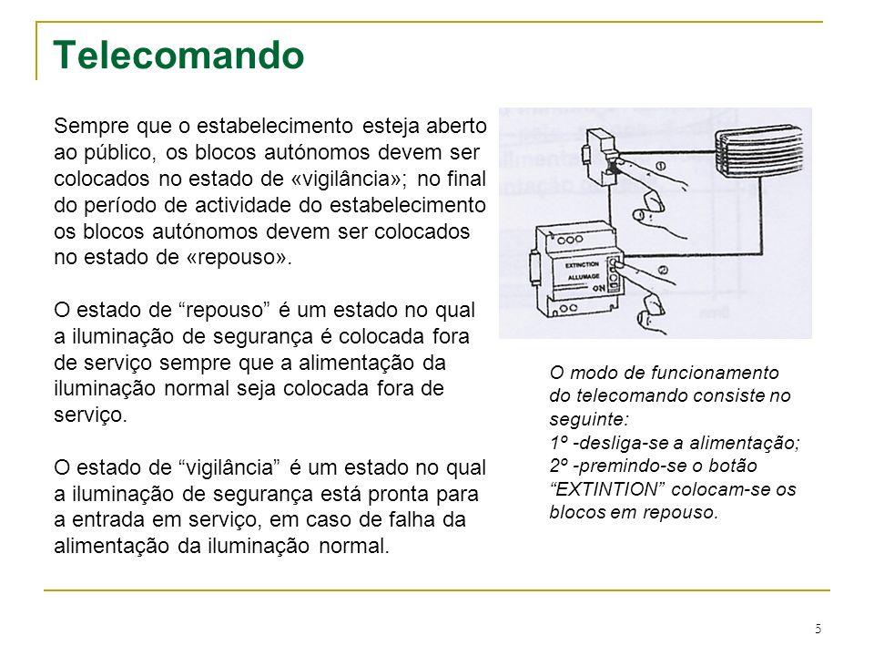 6 Telecomando A inclusão do telecomando, a colocar no quadro eléctrico, requer mais duas linhas na alimentação do bloco autónomo.