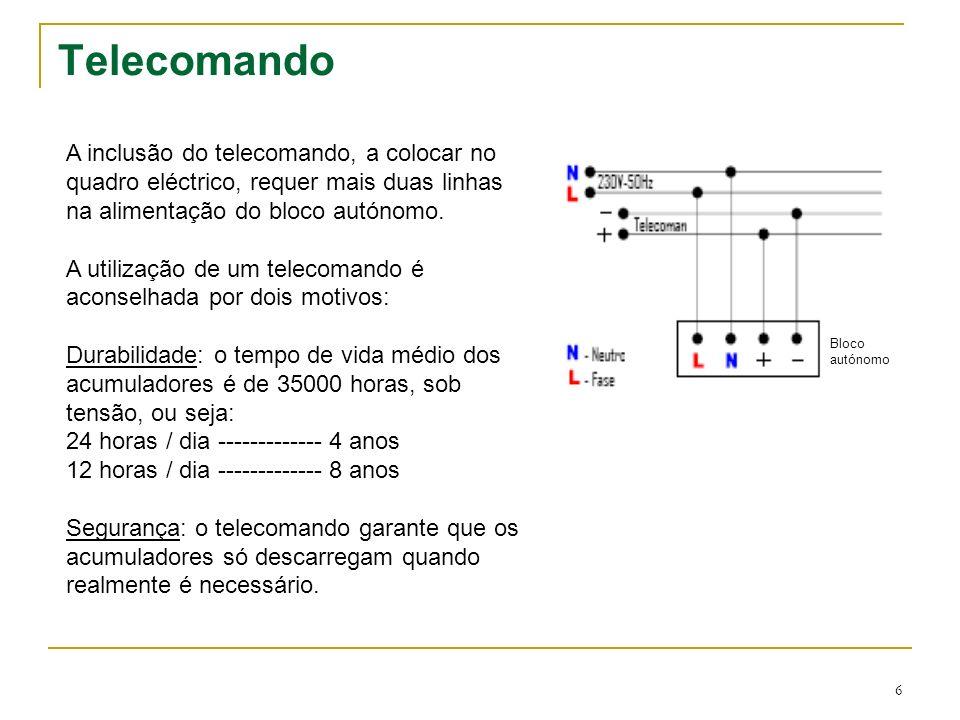 6 Telecomando A inclusão do telecomando, a colocar no quadro eléctrico, requer mais duas linhas na alimentação do bloco autónomo. A utilização de um t