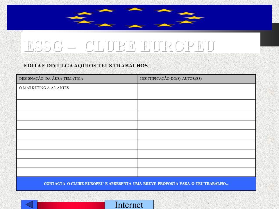 Internet PERCURSOS EUROPEUS DE FORMAÇÃO PROFISSIONAL EM ALTERNÂNCIA - O EUROPASS O EUROPASS ELEARNING INTERACTIVO NAS ESCOLA DA EUROA (Partilha de saberes e de experiências educativas entre Instituições...) ELEARNING INTERACTIVO PROGRAMA EUROPEU DE FORMAÇÃO PROFISSIONAL - LEONARD DE VINCILEONARD DE VINCI PROGRAMA EUROPEU DE EDUCAÇÃO – SOCRATESSOCRATES FORMAÇÃO PROFISSIONAL EM PORTUGALPROFISSIONAL EM PORTUGAL UMA EUROPA DO CONHECIMENTO (novas tecnologias de informação, saúde, a cidade do futuro...)EUROPA DO CONHECIMENTO tecnologias de informação, saúde, a cidade do futuro GUIA DE ACESSO AO ENSINO SUPERIOR GUIA DE CARACTERIZAÇÃO DAS PROFISSÕES EM PORTUGALCARACTERIZAÇÃO DAS PROFISSÕES A REVISÃO CURRICULAR EM PORTUGAL (Encontros no Secundário...)REVISÃO CURRICULAR A OPINIÃO DOS JOVENS SOBRE A UNIÃO EUROPEIA AS OPINIÕES FEMINININA SOBRE A UNIÃO EUROPEIA