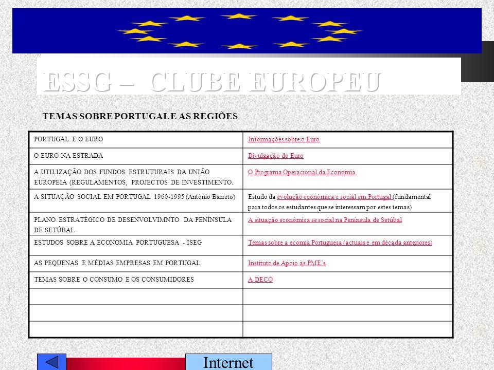 PORTUGAL E O EUROInformações sobre o Euro O EURO NA ESTRADADivulgação do Euro A UTILIZAÇÃO DOS FUNDOS ESTRUTURAIS DA UNIÃO EUROPEIA (REGULAMENTOS, PROJECTOS DE INVESTIMENTO.