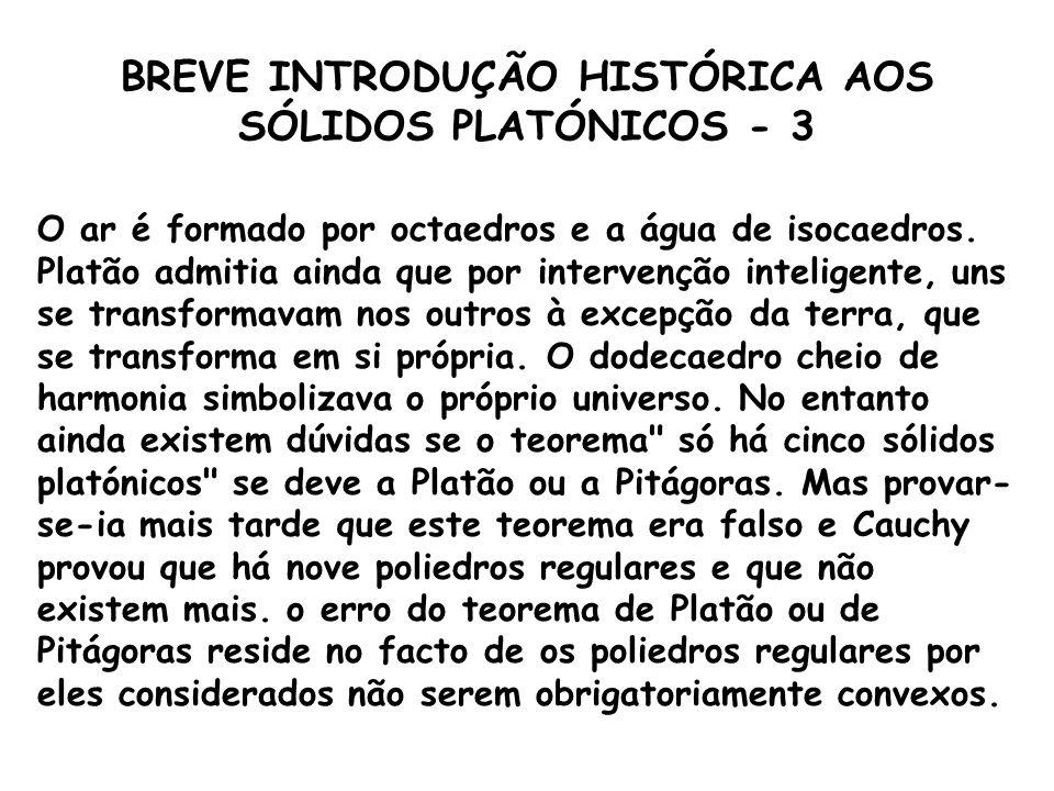BREVE INTRODUÇÃO HISTÓRICA AOS SÓLIDOS PLATÓNICOS - 2 Platão (sec II a.C.9, o grande filósofo aluno de Sócrates, foi o primeiro matemático a demonstra