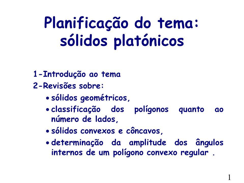 Planificação do tema: sólidos platónicos 1-Introdução ao tema 2-Revisões sobre: sólidos geométricos, classificação dos polígonos quanto ao número de lados, sólidos convexos e côncavos, determinação da amplitude dos ângulos internos de um polígono convexo regular.