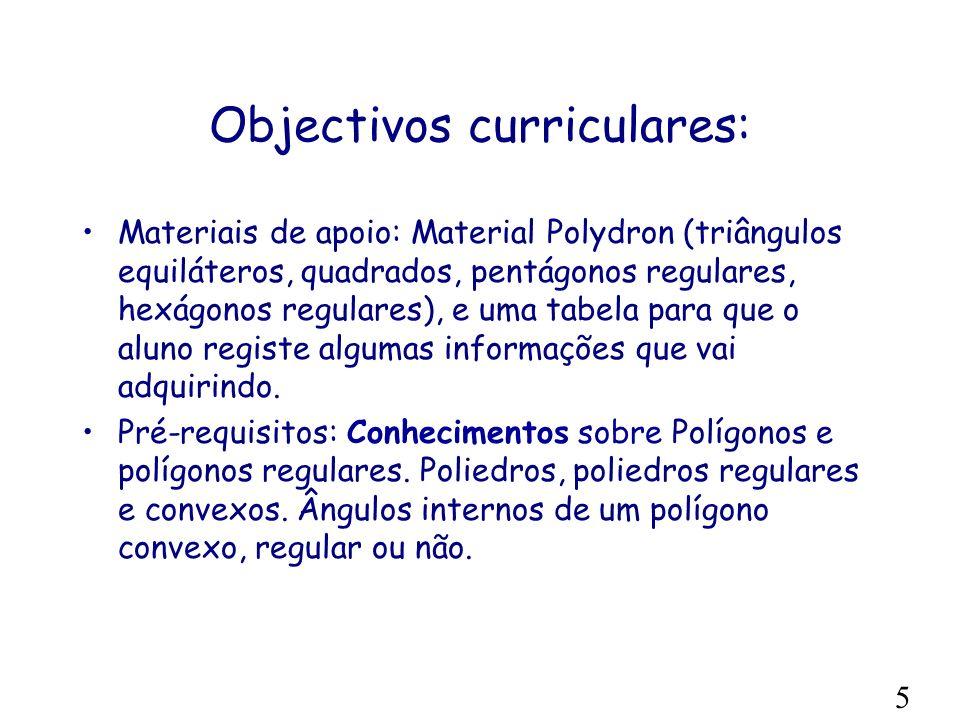 Objectivos curriculares: Materiais de apoio: Material Polydron (triângulos equiláteros, quadrados, pentágonos regulares, hexágonos regulares), e uma tabela para que o aluno registe algumas informações que vai adquirindo.