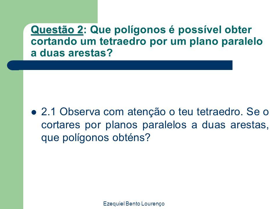 Ezequiel Bento Lourenço Questão 2 Questão 2: Que polígonos é possível obter cortando um tetraedro por um plano paralelo a duas arestas? 2.1 Observa co