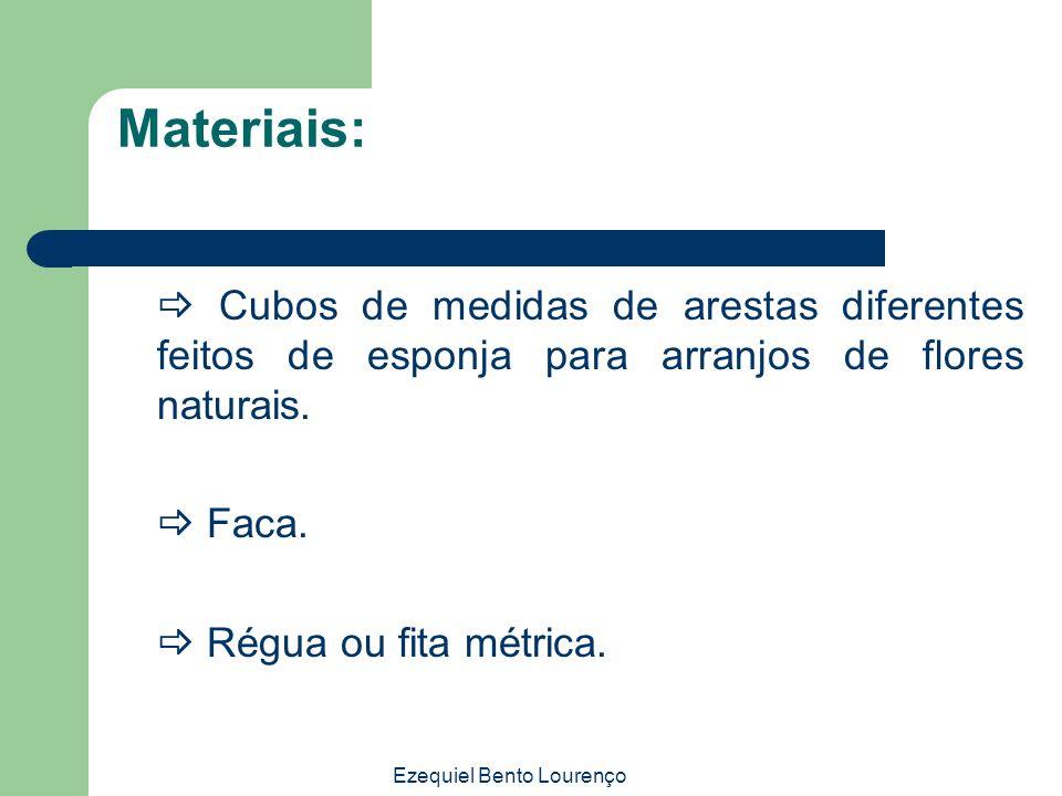 Ezequiel Bento Lourenço Materiais: Cubos de medidas de arestas diferentes feitos de esponja para arranjos de flores naturais. Faca. Régua ou fita métr