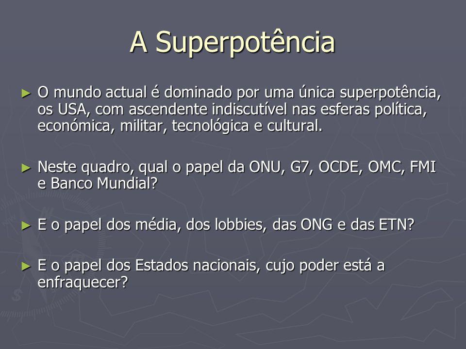 A Superpotência O mundo actual é dominado por uma única superpotência, os USA, com ascendente indiscutível nas esferas política, económica, militar, t