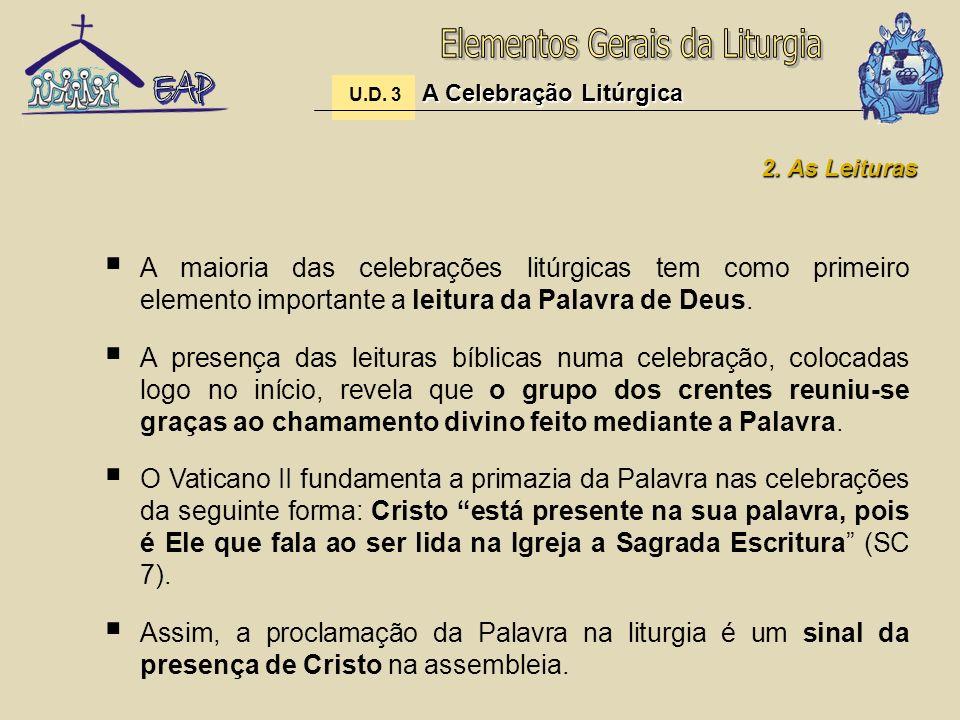 A maioria das celebrações litúrgicas tem como primeiro elemento importante a leitura da Palavra de Deus. A presença das leituras bíblicas numa celebra