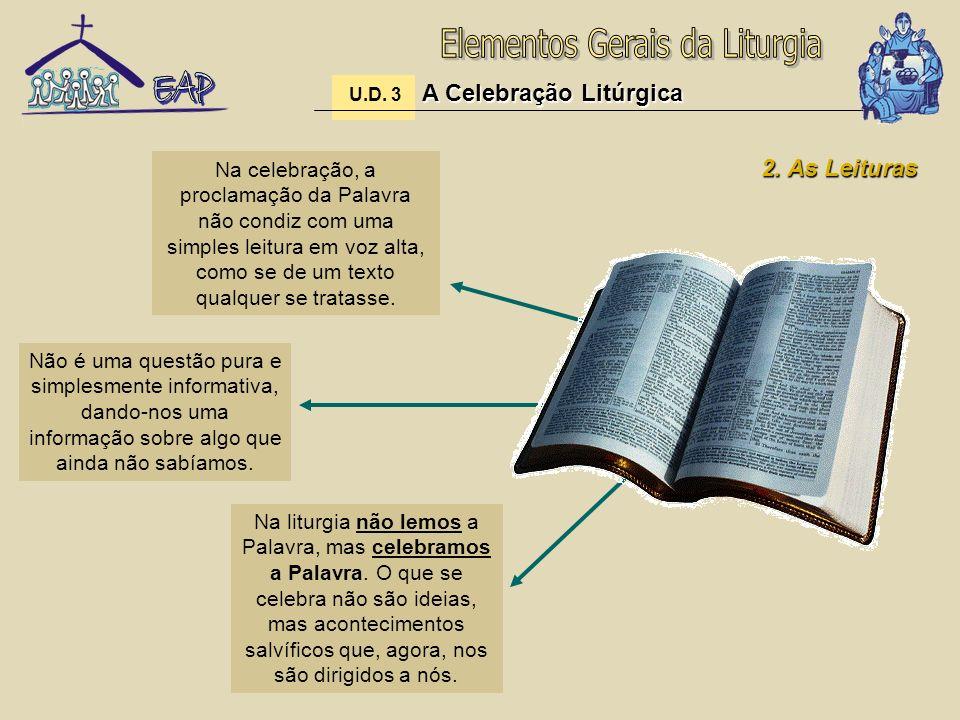A Celebração Litúrgica U.D. 3 A Celebração Litúrgica 2. As Leituras Na celebração, a proclamação da Palavra não condiz com uma simples leitura em voz
