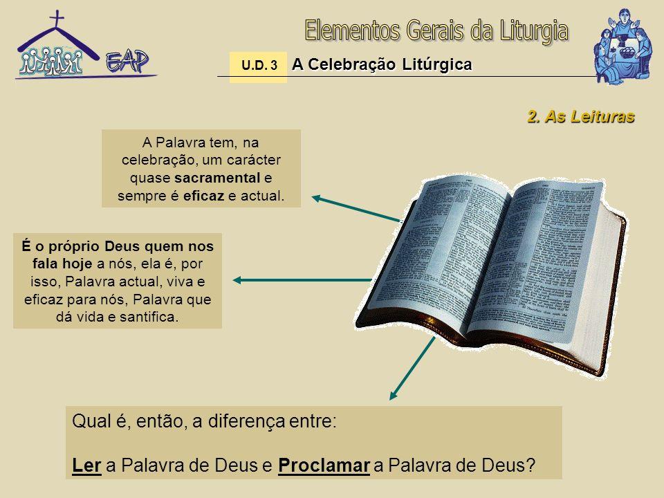 A Celebração Litúrgica U.D. 3 A Celebração Litúrgica 2. As Leituras A Palavra tem, na celebração, um carácter quase sacramental e sempre é eficaz e ac