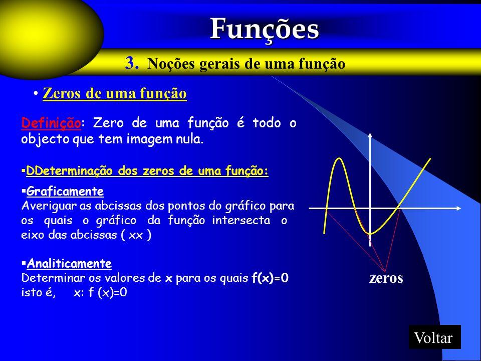 Funções Funções 3. Noções gerais de uma função Zeros de uma função zeros Definição: Zero de uma função é todo o objecto que tem imagem nula. DDetermin