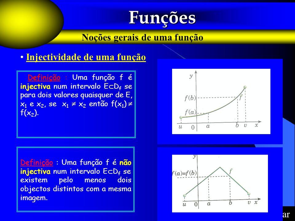 Funções Funções Noções gerais de uma função F Definição : Uma função f é injectiva num intervalo E D f se para dois valores quaisquer de E, x 1 e x 2,