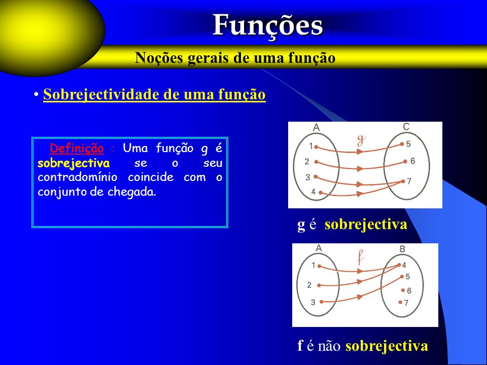 Funções Funções Noções gerais de uma função Sobrejectividade de uma função F Definição : Uma função g é sobrejectiva se o seu contradomínio coincide c