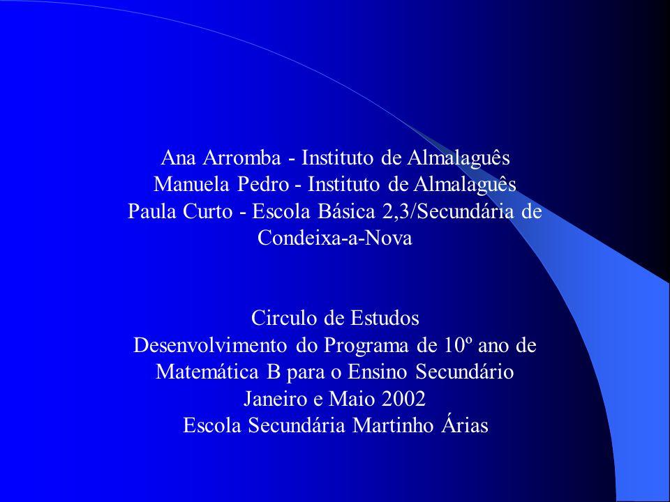 Ana Arromba - Instituto de Almalaguês Manuela Pedro - Instituto de Almalaguês Paula Curto - Escola Básica 2,3/Secundária de Condeixa-a-Nova Circulo de