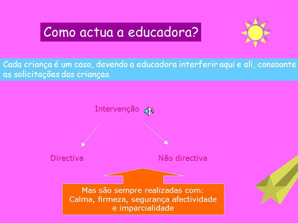 O PAPEL DA EDUCADORA A educadora deve ser capaz de proporcionar espaços de jogo onde:- aprenda a conhecer-se melhor, a conquistar o seu espaço e possa