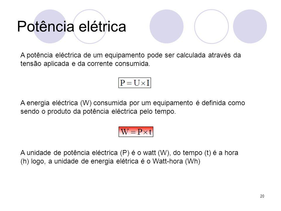 20 Potência elétrica A potência eléctrica de um equipamento pode ser calculada através da tensão aplicada e da corrente consumida. A energia eléctrica