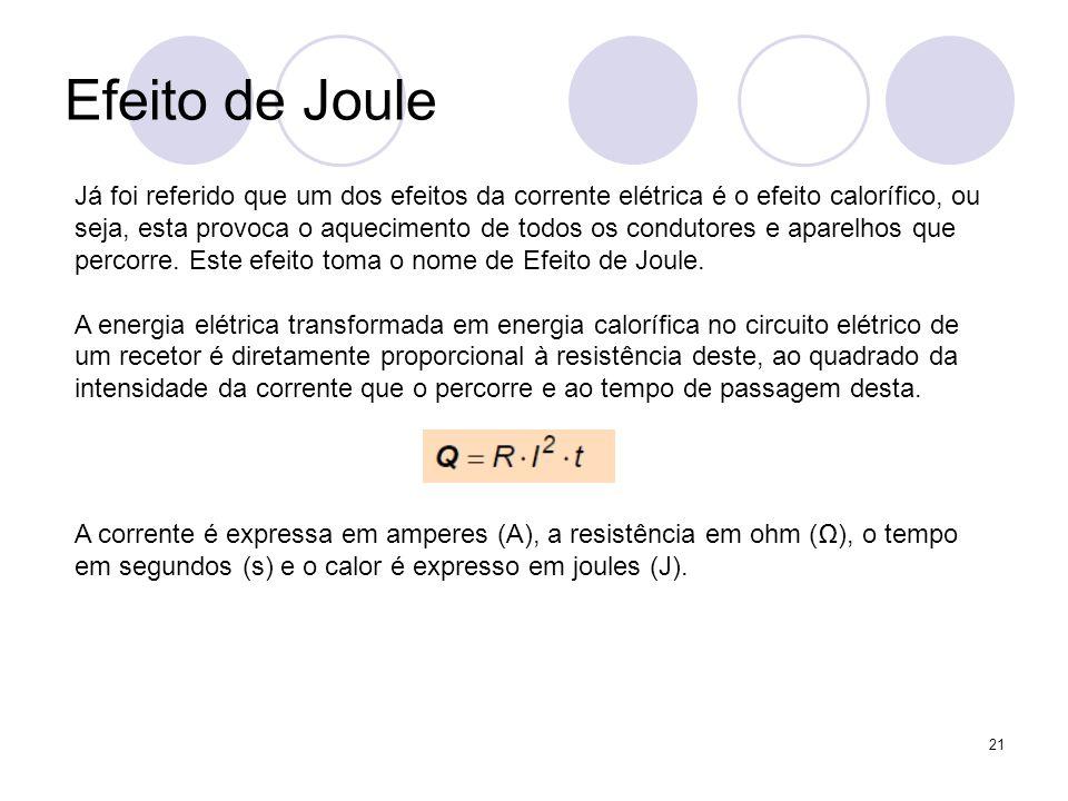 21 Efeito de Joule Já foi referido que um dos efeitos da corrente elétrica é o efeito calorífico, ou seja, esta provoca o aquecimento de todos os cond