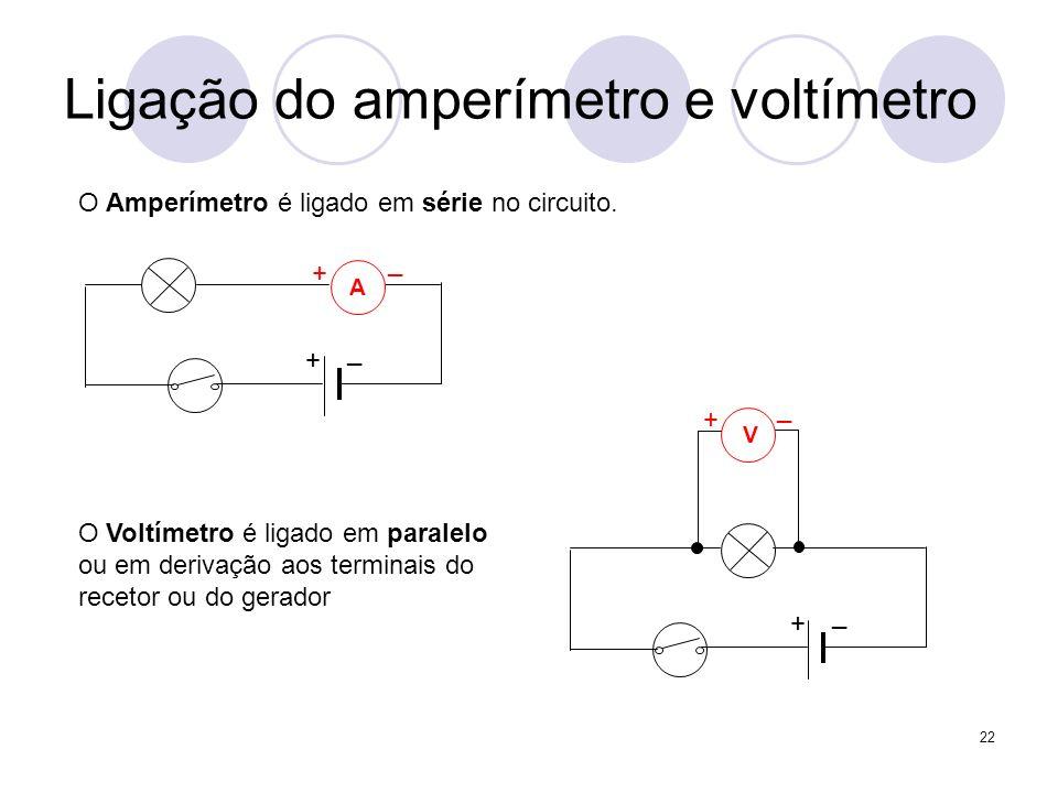 22 Ligação do amperímetro e voltímetro O Voltímetro é ligado em paralelo ou em derivação aos terminais do recetor ou do gerador O Amperímetro é ligado