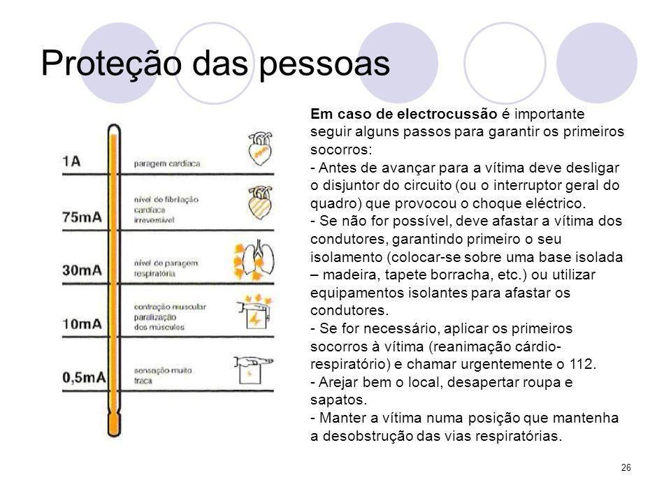 26 Proteção das pessoas Em caso de electrocussão é importante seguir alguns passos para garantir os primeiros socorros: - Antes de avançar para a víti