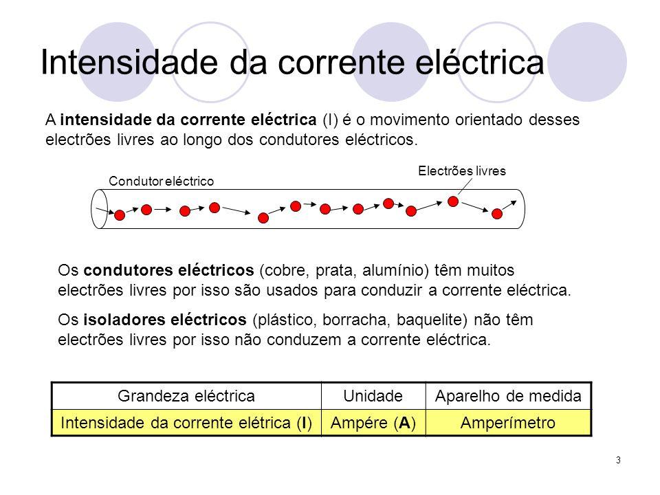 3 Intensidade da corrente eléctrica A intensidade da corrente eléctrica (I) é o movimento orientado desses electrões livres ao longo dos condutores el