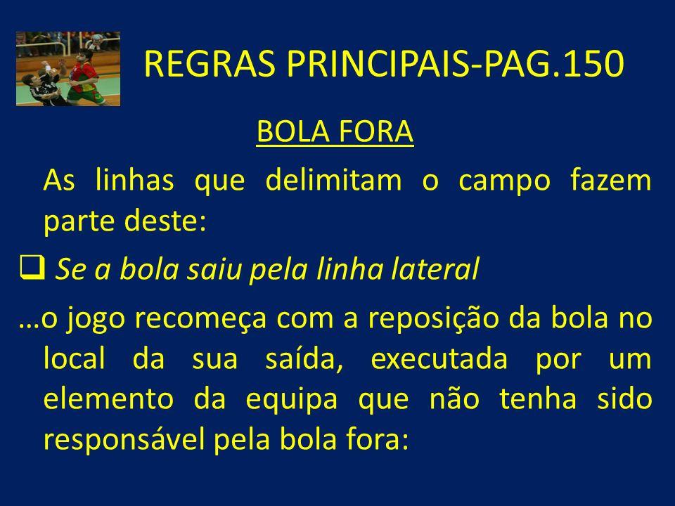 REGRAS PRINCIPAIS-PAG.150 BOLA FORA As linhas que delimitam o campo fazem parte deste: Se a bola saiu pela linha lateral …o jogo recomeça com a reposi