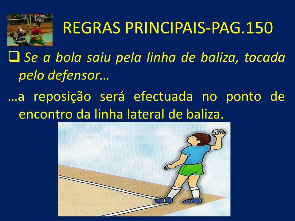 REGRAS PRINCIPAIS-PAG.150 Se a bola saiu pela linha de baliza, tocada pelo defensor… …a reposição será efectuada no ponto de encontro da linha lateral