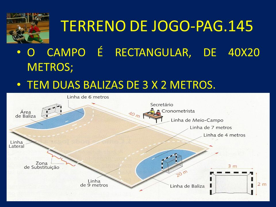 TERRENO DE JOGO-PAG.145 O CAMPO É RECTANGULAR, DE 40X20 METROS; TEM DUAS BALIZAS DE 3 X 2 METROS.