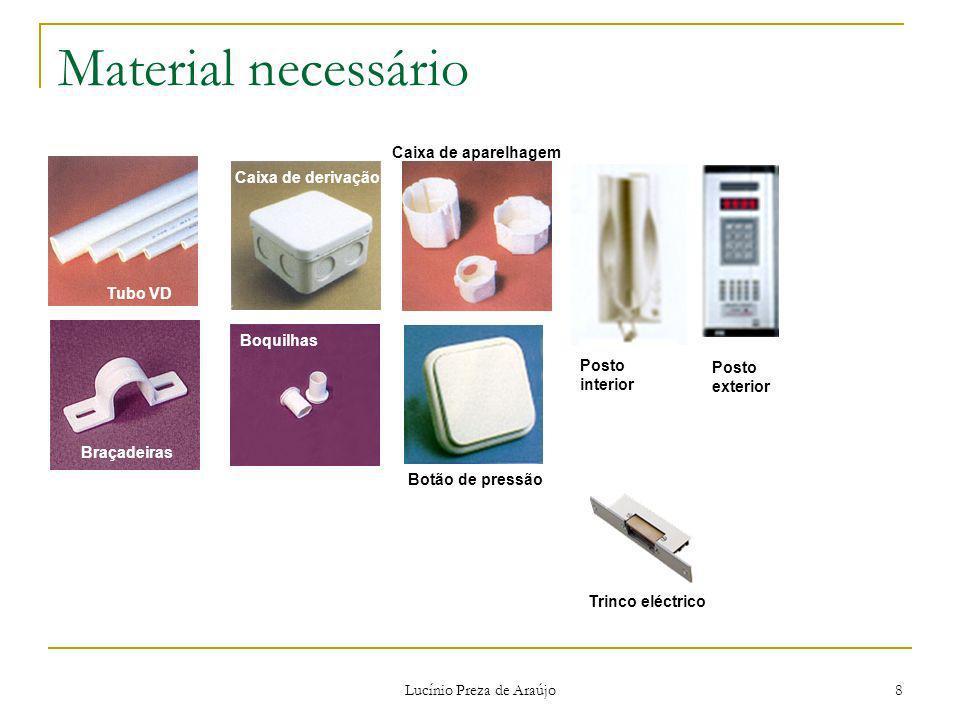 Lucínio Preza de Araújo 8 Material necessário Tubo VD Braçadeiras Caixa de derivação Boquilhas Caixa de aparelhagem Botão de pressão Trinco eléctrico