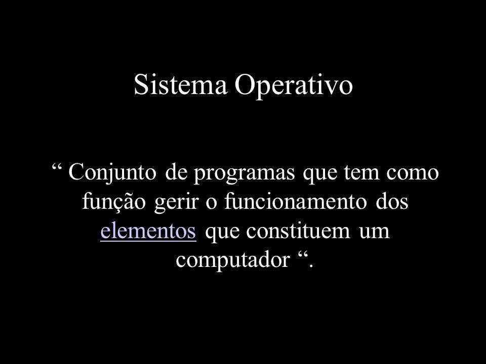 Sistema Operativo Conjunto de programas que tem como função gerir o funcionamento dos elementos que constituem um computador. elementos
