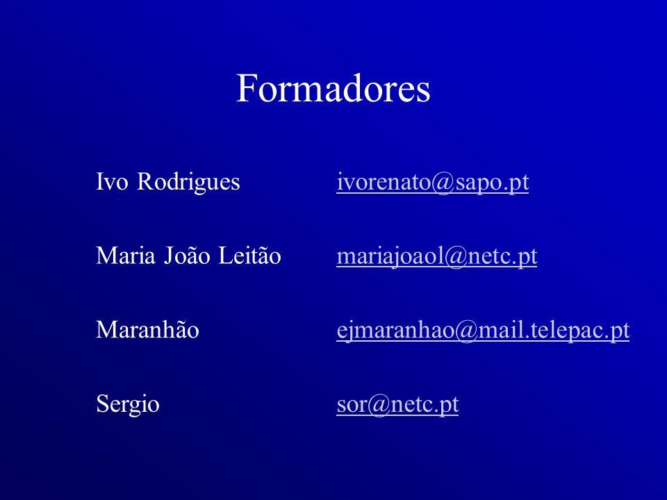 Formadores Ivo Rodriguesivorenato@sapo.pt Maria João Leitãomariajoaol@netc.pt Maranhãoejmaranhao@mail.telepac.pt Sergiosor@netc.pt