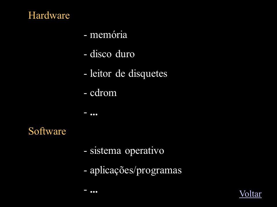 Exemplos1 Hardware - memória - disco duro - leitor de disquetes - cdrom -... Software - sistema operativo - aplicações/programas -... Voltar